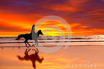 Silhouette of the girl skipping on a horse