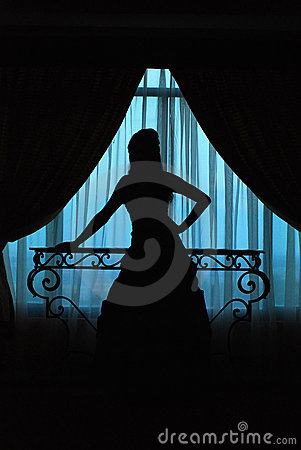 Silhouette of girl in window