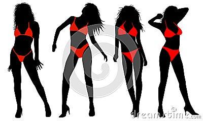 Silhouette of girls in bikinis