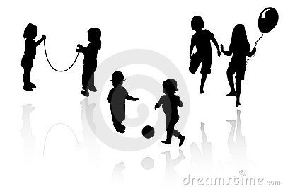 Silhouette girls and boys playing
