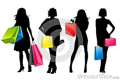 Silhouette girls shopping