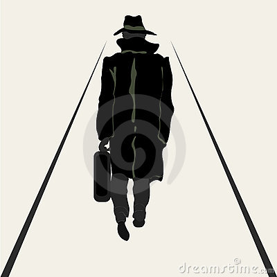 Silhouette going men with briefcase in hand