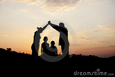 Silhouette, group of happy family