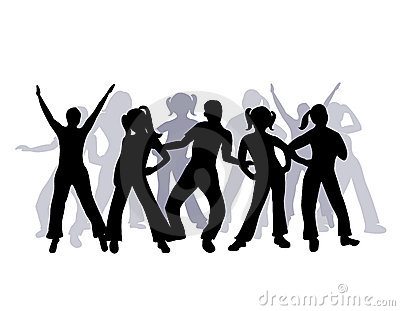 Silhouette group of people dancing