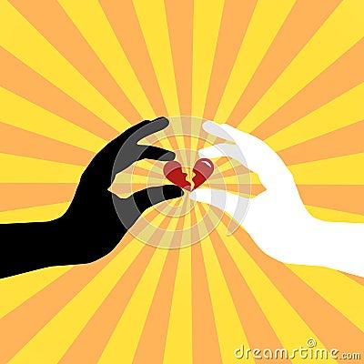 Silhouette of hands saving love