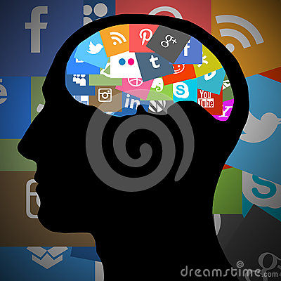 Silhouette of the head with internet symbols Editorial Photography