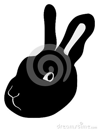 Silhouette of head of rabbit