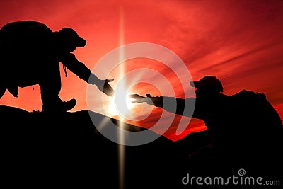 Silhouette of helping hand