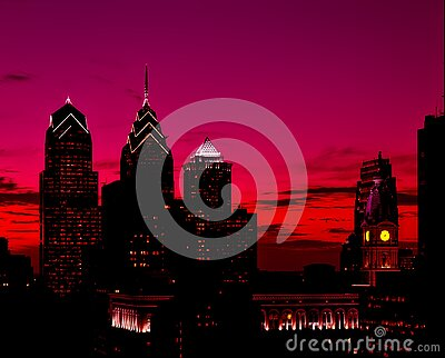 Silhouette Of High Rise Buildings At Sunset Free Public Domain Cc0 Image