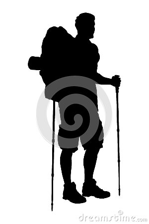 A silhouette of a hiker with backpack