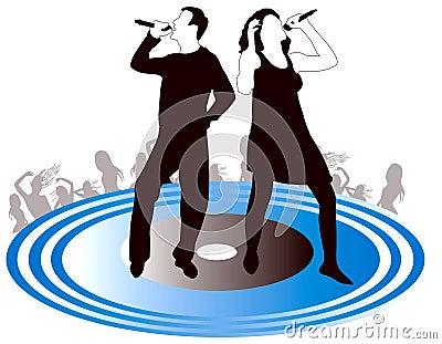Silhouette hommes-femmes de chanteurs