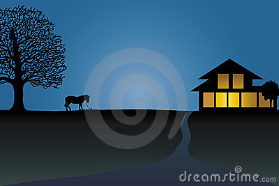 Silhouette of horse near the house