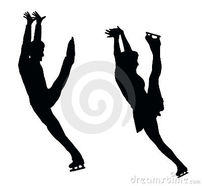 Silhouette Ice Skater Couple High Kick