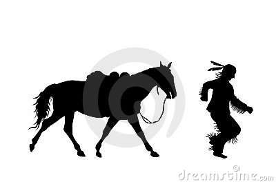 Silhouette of indian running with a horse