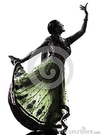 Silhouette indienne de danse de danseuse de femme
