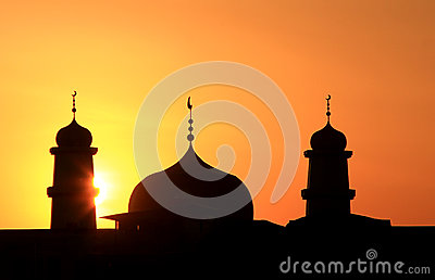 Silhouette of  islamic church
