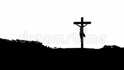 Silhouette of Jesus with Cross over blue sky, Luma Matte attached. Hd video royalty free illustration