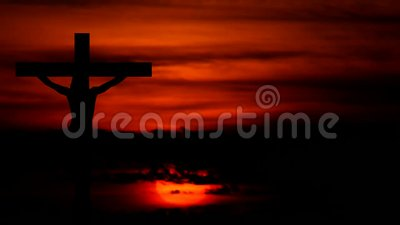 Silhouette Jesus on the cross 5. Silhouette Jesus on the cross and sunset stock illustration