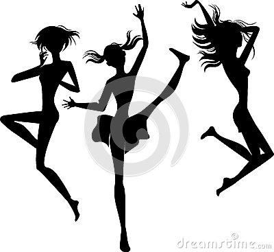 Silhouette jumping cheerful girls