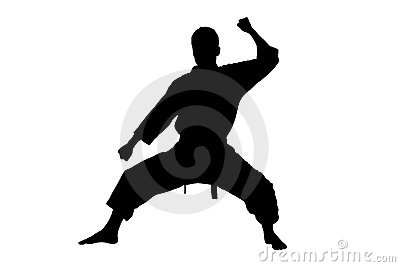 A silhouette of a karate man