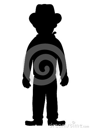 Silhouette of kid cowboy
