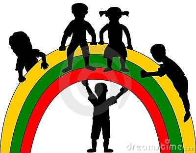 Silhouette of kids and rainbow