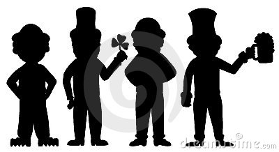 Silhouette of leprechauns