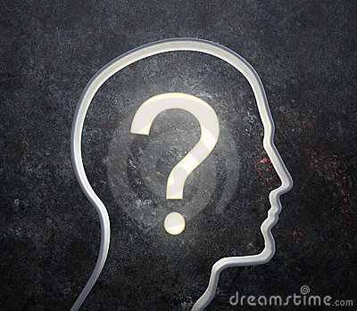 Silhouette of a male face with a glowing question