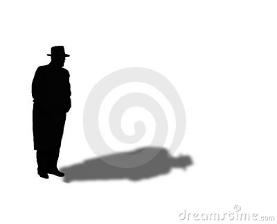 Silhouette of 50s Mystery Man in Fedora and Overcoat