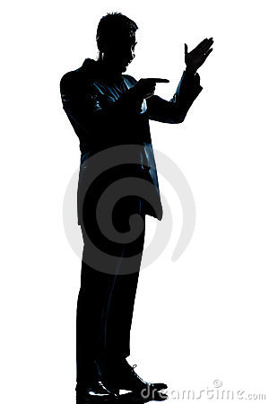Silhouette man full length friendly menacing