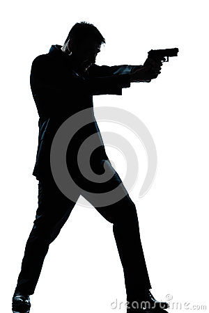 Free Silhouette Man Full Length Shooting With Gun Royalty Free Stock Image - 26424796