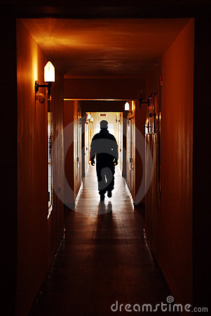 Silhouette man in hall