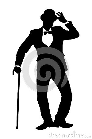 A silhouette of a man holding a cane and gesturing