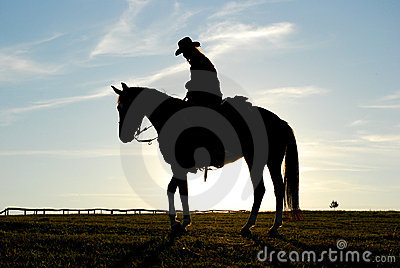 Silhouette of man and horse