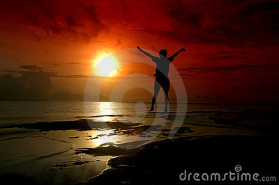 Silhouette of a man jumping