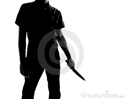 Silhouette of a man with knife