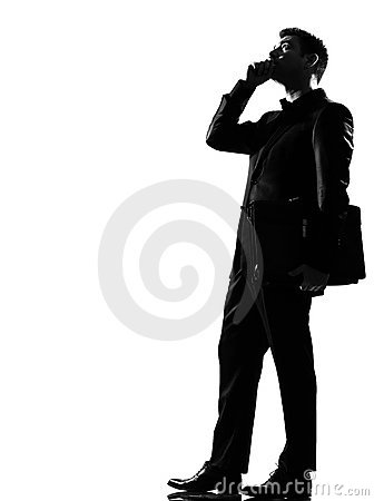 Silhouette  man on the phone