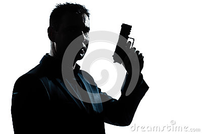 Silhouette man portrait with gun