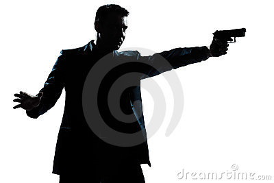 Silhouette man portrait with gun aiming