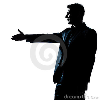 Silhouette man portrait handshake profile