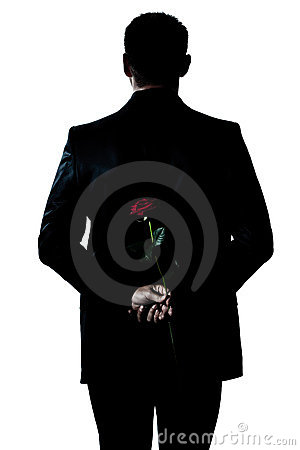 Free Silhouette Man Portrait Holding A Rose Flower Royalty Free Stock Photo - 21620035