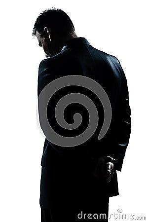 Silhouette man portrait sad despair lonely