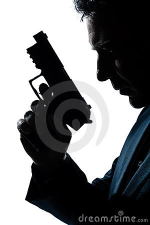 Free Silhouette Man Portrait With Gun Royalty Free Stock Images - 21379389