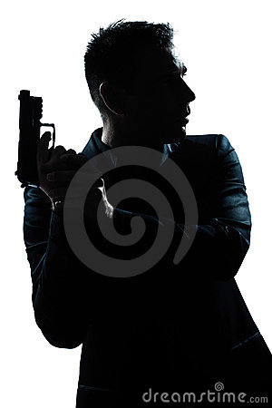 Free Silhouette Man Portrait With Gun Royalty Free Stock Image - 23093586