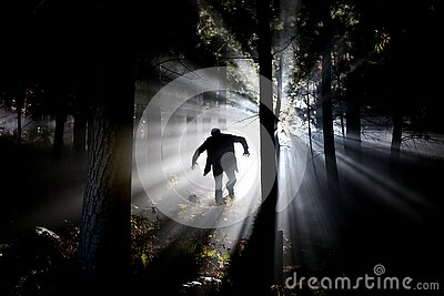 Silhouette Of Man Running On Forest Free Public Domain Cc0 Image