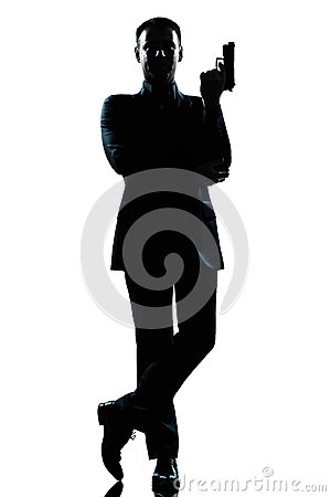 Silhouette man secret agent james bond posture