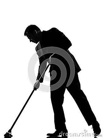 Silhouette  man  wiping brooming