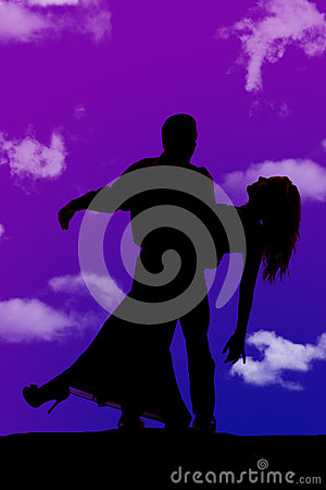 Silhouette man woman dance tip