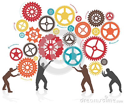 Silhouette Men Turning and Pushing Cogs