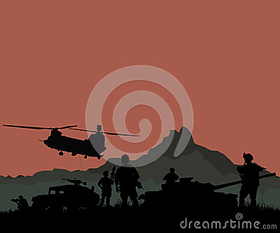 Silhouette of military soldiers team or officer with weapons and Stock Photo